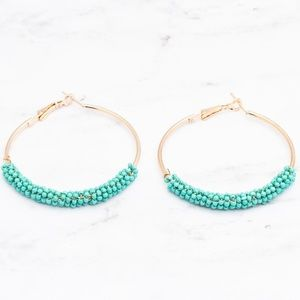 Jewelry - Turquoise Gold Beaded Hoop Earrings